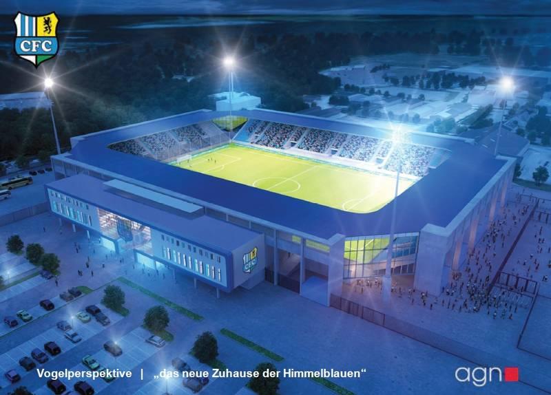 Architektenentwurf des Fanschals Chemnitzer FC