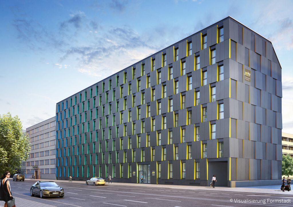 Entwurf des Studentenapartments in München Pasing mit einer Reynobond Fassade